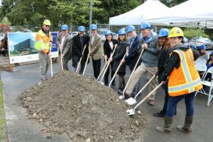 BC officials with shovels for the groundbreaking
