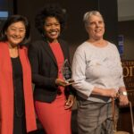 Yuko Kodama (left) and Sonya Green meet with Katherine Schneider at the annual Katherine Schneider Journalism Award for Excellence in Reporting on Disability. Photo by Marcus Chormicle, Cronkite School