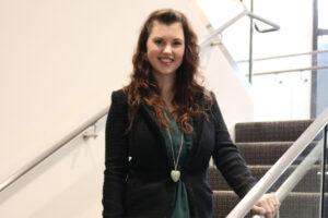 Andrea in the stairwell at CliftonLarsonAllen