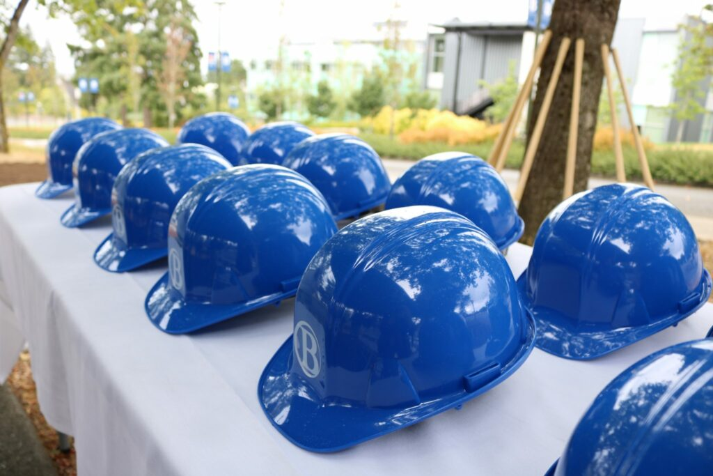 Hard hats on a table