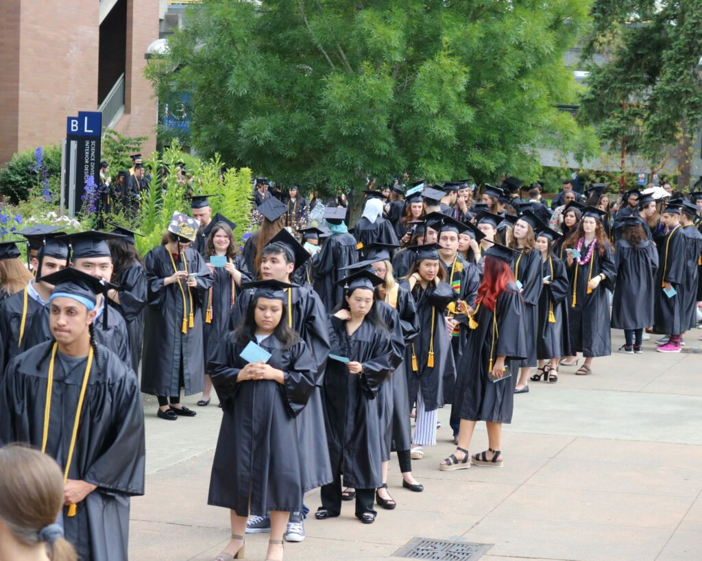 Students line up for the graduation ceremony