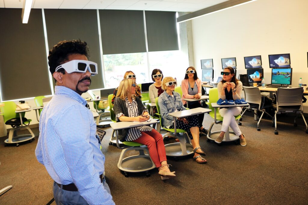Faculty wearing protective eyewear
