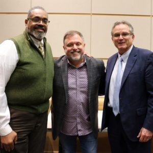 Glenn Jackson, director of the Center for High School Initiatives at BC, Tim Wise, Dr. Jerry Weber, president of BC