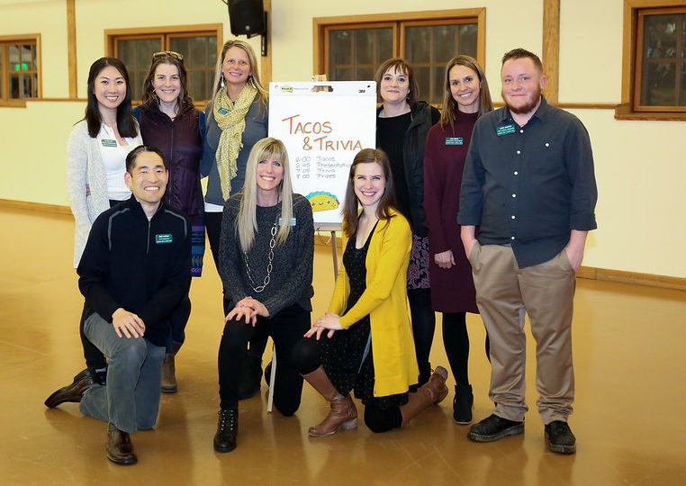 Claire Lee (top left), a BAS Digital Marketing student at Bellevue College, at the Volunteer Appreciation Event hosted by the Issaquah Food & Clothing Bank in early March 2020.