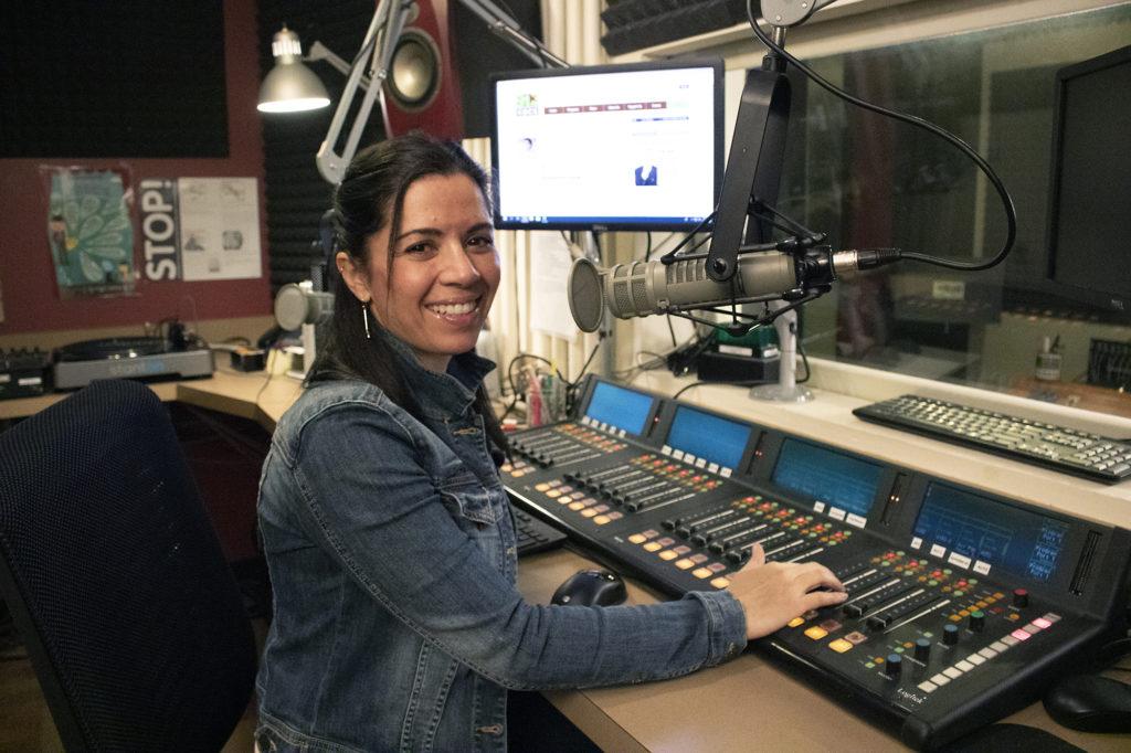 Mari McMenamin in the KBCS studio