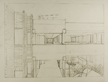 Art 120, Perspective Study, Pencil on Paper, view is looking over the BC Fountain looking west through the hallway
