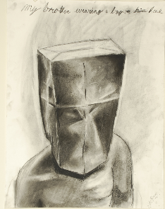 Art 120, Paper Bag on Brother's Head, Value Planar Study, Charcoal on Paper