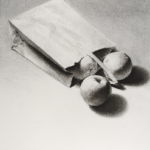 Art 120, Bag with Fruit, Charcoal on Paper