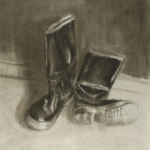 Art 120, Boots on the floor, Charcoal on Paper