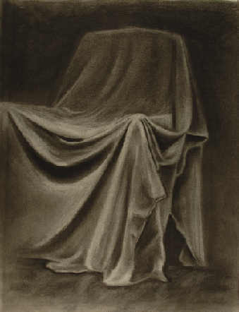 Art 120, Drapery Study, Charcoal on Paper, bed sheet draped over chair