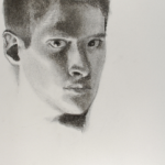 120, Male student, Self Portrait in Charcoal