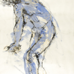 Art 121, Expressive Figure Study, Mixed Media on Paper. View of nude male body from side view