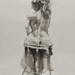 Art 121, Figure Study in Value, ink wash on paper. view of nude female's back.