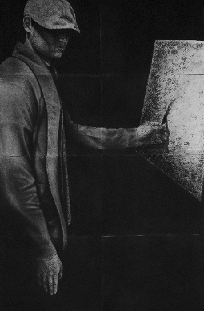 Art 121, Self Portrait in Charcoal. Male standing drawing a picture of himself on canvas