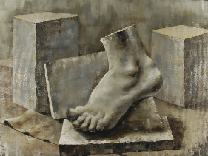 Art 240, Value Still life on Canvas. View of foot perched on a stone block. Stone blocks in background
