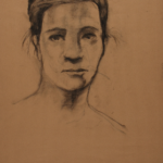 Art 221, Portrait Study, Charcoal on Toned Paper, Woman's face, hair pulled up