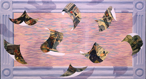 Purple border. Pink and purple middle, floating pictures in middle
