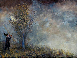 Man dressed in black coat and hat chasing a feather that landed in a tree