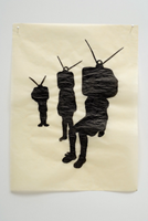 three silhouettes with tv sets for heads