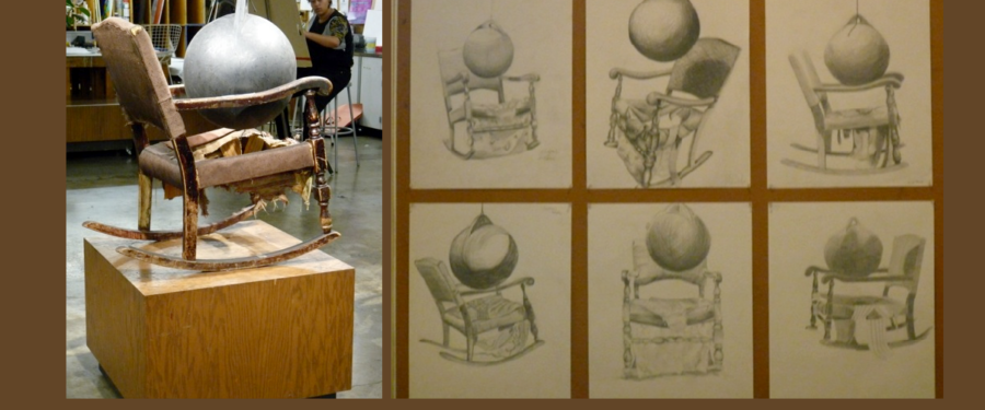 Chair with large glass ball - drawing assignment