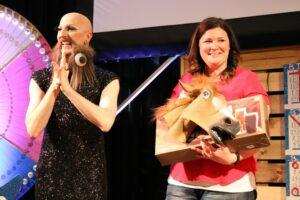 Bingo winner accepting prize
