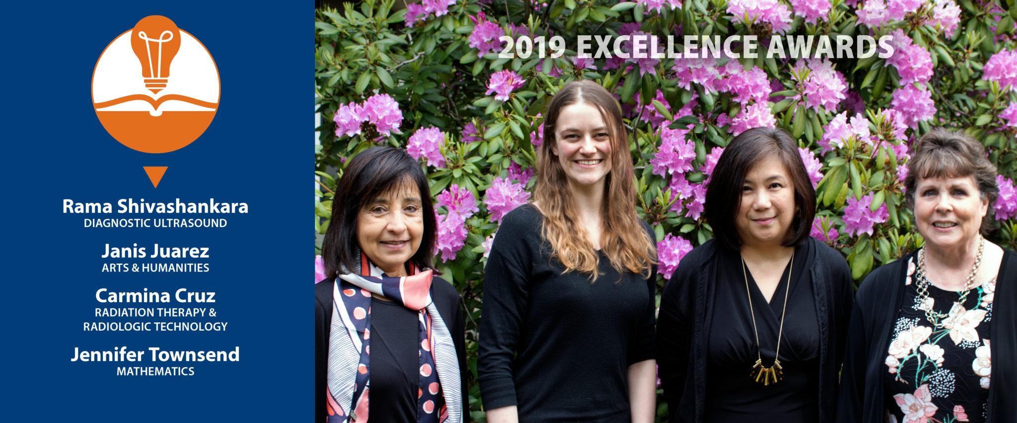 2018-19 winners of BC Excellence Awards. (L to R) Rama Shivashankara, Jen Townsend, Carmina Cruz, Janis Juarez