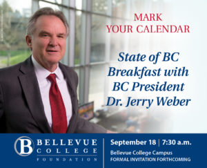 Invitation to the annual State of BC Breakfast. BC President, Dr. Jerry Weber pictured on the left.