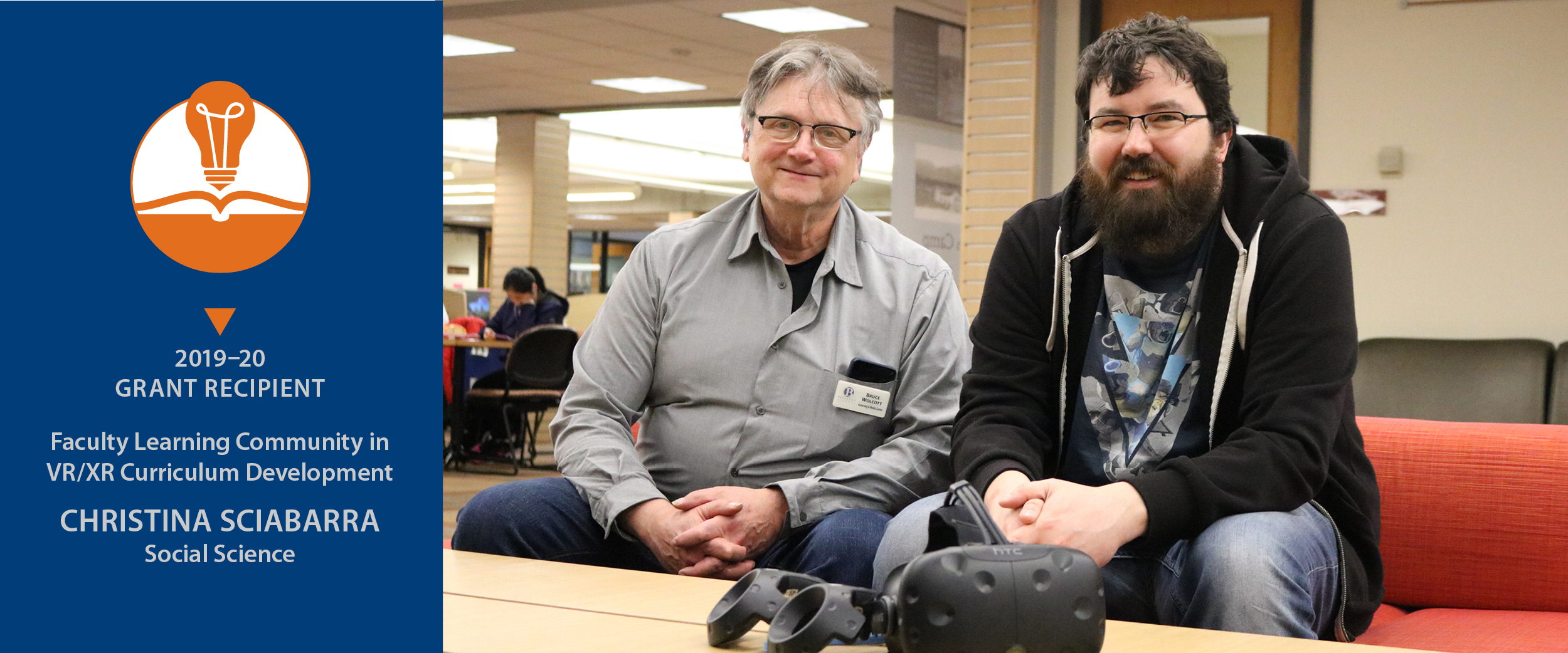 Bruce Wolcott and James Riggal sitting on a couch with VR/XR equipment on the table in front of them
