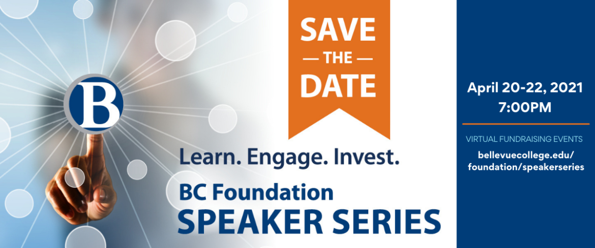 Hand with finger pointing at BC logo and text about the Speaker Series event