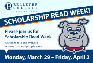 Picture of an invitation to read and score scholarship applications. Light blue background with text and the BC Bulldog mascott picture.