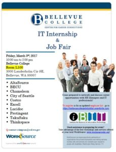 Poster for IT Internship & Job Fair, also shows BC address