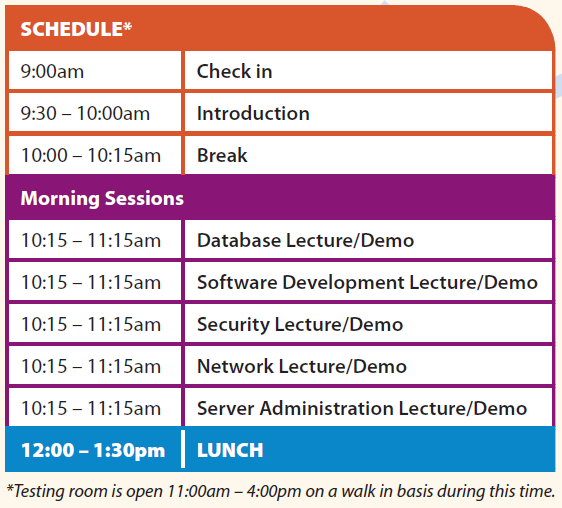9 am check-in; 9:30-10am Introduction; 10-10:15am Break; 10:15-11:15am (Database, Software Development, Security, Network, Server Administration); 12-1:30 Lunch; Testing room is open 11am - 4pm