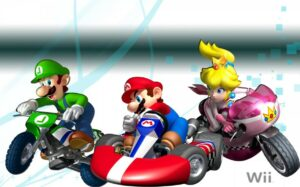 Luigi (on a motorcycle), Mario (in a race car) and Princess Peach (on a motorcycle) race for the win!