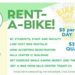 Rent a bike, $5 per day or $35 per quarter