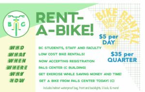 Rent a bike, $5 per day or $35 per quarter