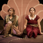 Two female characters in Still Life with Iris