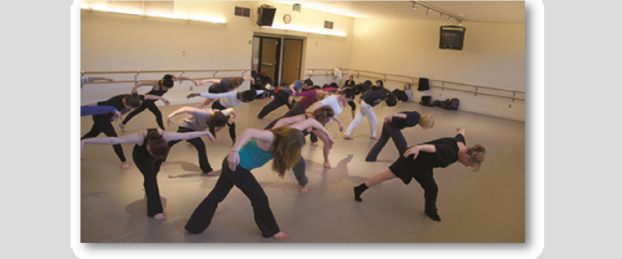 Several dance students in one dance movement