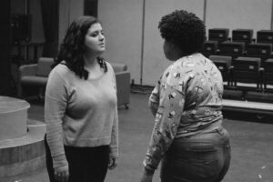 Two actors during rehearsal for Antigone