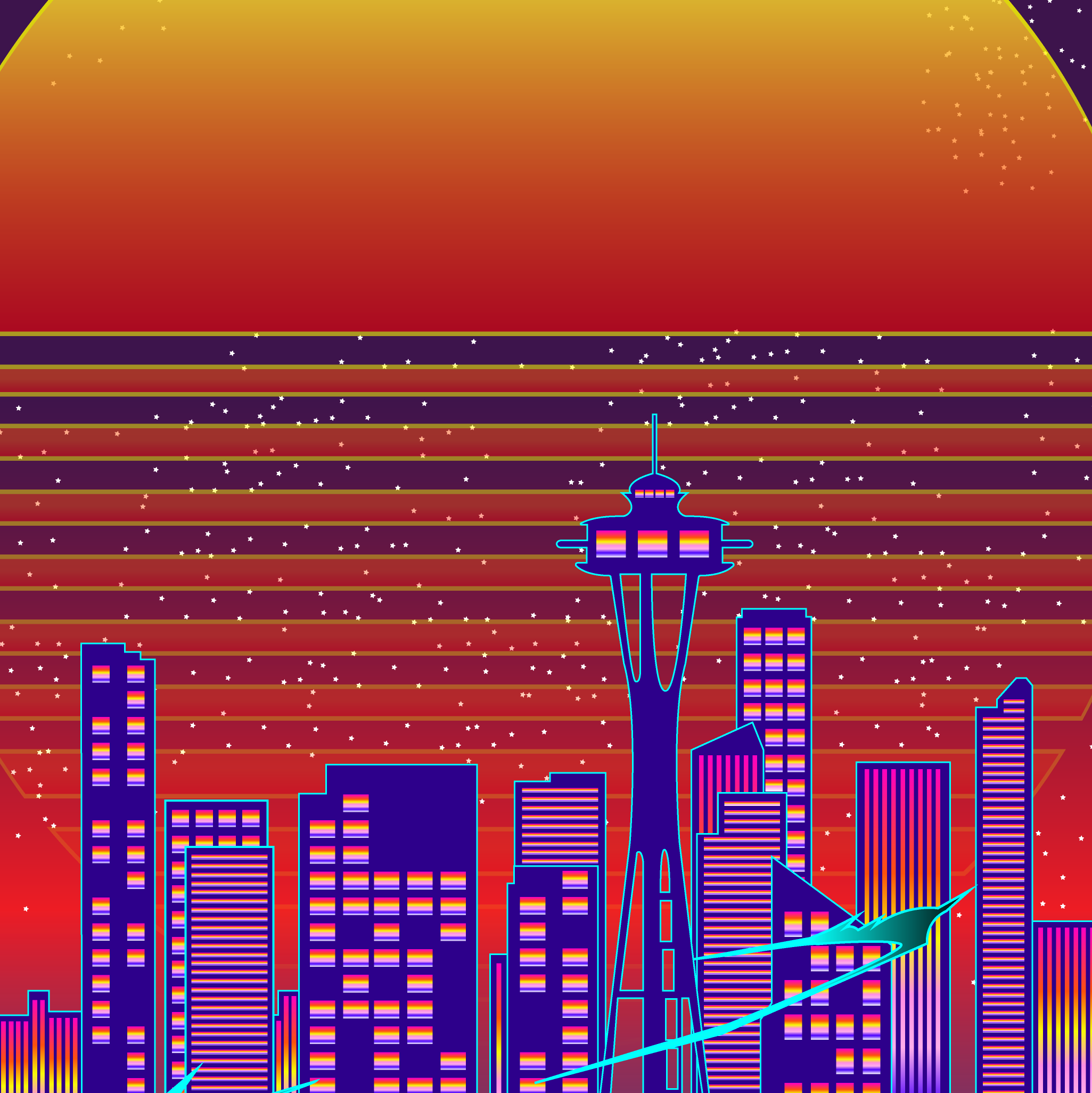Graphic design of city of Seattle skyline with a bike in the front.