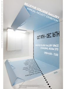 Image of an installation by artists Chris Oliver incorporated into a poster featuring the times and dates for exhibition and names of included artists