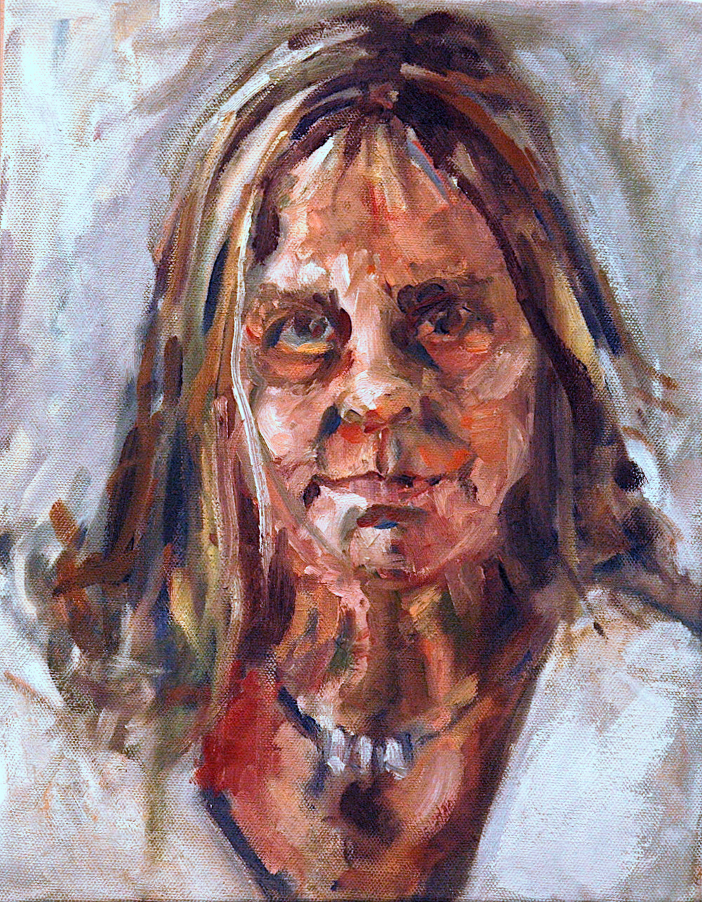 An image of a painting by an older female identifying artist that uses cool whites in the background and foreground, as well as warm European flesh skin colours.